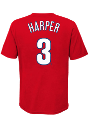 Bryce Harper Philadelphia Phillies Youth Red Name Number Player Tee