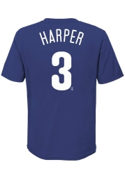 Bryce Harper Philadelphia Phillies Youth Blue Name and Number Player Tee
