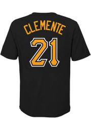 Roberto Clemente Pittsburgh Pirates Boys Black Name Number Short Sleeve T-Shirt