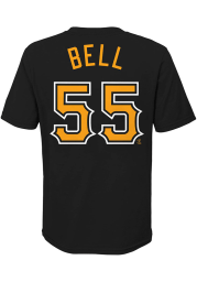 Josh Bell Pittsburgh Pirates Youth Black Name Number Player Tee