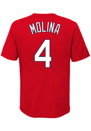Yadier Molina St Louis Cardinals Youth Red Name Number Player Tee