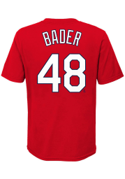 Harrison Bader St Louis Cardinals Boys Red Name Number Short Sleeve T-Shirt
