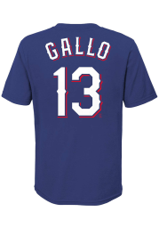 Joey Gallo Texas Rangers Youth Blue Name Number Player Tee