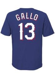 Joey Gallo Texas Rangers Boys Blue Name Number Short Sleeve T-Shirt