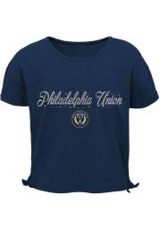 Philadelphia Union Girls Navy Blue Love Short Sleeve Fashion T-Shirt