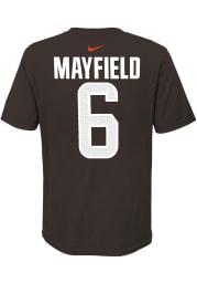 Baker Mayfield Cleveland Browns Boys Brown Name Number Short Sleeve T-Shirt