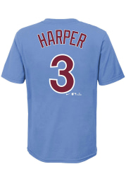 Bryce Harper Philadelphia Phillies Youth Light Blue Name and Number Player Tee