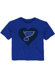 St Louis Blues Infant Girls I Heart My Team Short Sleeve T-Shirt Blue