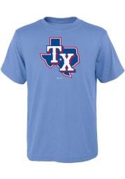 Texas Rangers Youth Light Blue Alternate Logo Short Sleeve T-Shirt