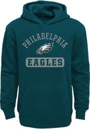 Philadelphia Eagles Youth Midnight Green Banner Long Sleeve Hoodie