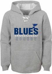 St Louis Blues Youth Grey laceem up Long Sleeve Hoodie