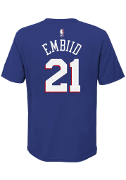 Joel Embiid Philadelphia 76ers Youth Blue Name and Number Icon Player Tee