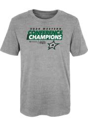 Dallas Stars Boys Grey 2020 NHL Conference Champs Locker Room Short Sleeve T-Shirt
