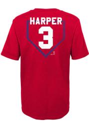 Bryce Harper Philadelphia Phillies Boys Red At The Plate Short Sleeve T-Shirt