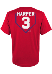 Bryce Harper Philadelphia Phillies Youth Red At The Plate Player Tee