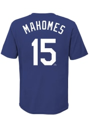 Patrick Mahomes Kansas City Royals Youth Blue Name and Number Player Tee