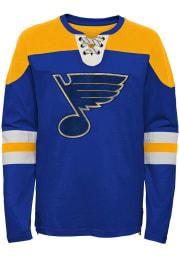 St Louis Blues Youth Blue Goaltender Long Sleeve Crew Sweatshirt