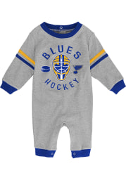 St Louis Blues Baby Grey Masked Defenders Long Sleeve One Piece
