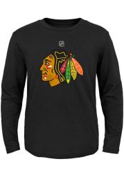 Chicago Blackhawks Youth Black Primary Logo Long Sleeve T-Shirt