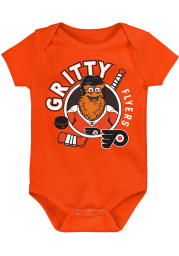 Outer Stuff Gritty Philadelphia Flyers Baby Black Gritty Ready to Play Short Sleeve One Piece