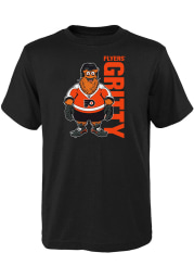 Gritty Outer Stuff Philadelphia Flyers Youth Black Mascot Pride Short Sleeve T-Shirt
