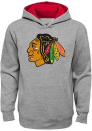 Chicago Blackhawks Youth Grey Prime Long Sleeve Hoodie
