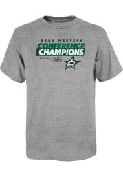 Dallas Stars Youth Grey 2020 NHL Conference Champs Locker Room Short Sleeve T-Shirt