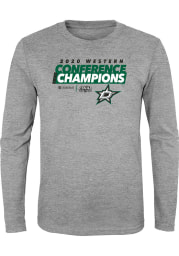 Dallas Stars Youth Grey 2020 NHL Conference Champs Locker Room Long Sleeve T-Shirt