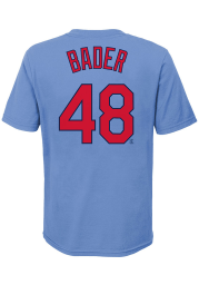 Harrison Bader St Louis Cardinals Youth Light Blue Name and Number Player Tee