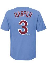 Bryce Harper Philadelphia Phillies Boys Light Blue Name and Number Short Sleeve T-Shirt