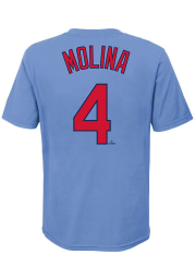 Yadier Molina St Louis Cardinals Boys Light Blue Name and Number Short Sleeve T-Shirt