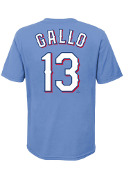 Joey Gallo Texas Rangers Youth Light Blue Name and Number Player Tee