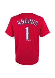 Elvis Andrus Texas Rangers Youth Red Player Player Tee