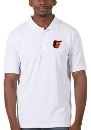 Antigua Baltimore Orioles Mens White Legacy Pique Short Sleeve Polo