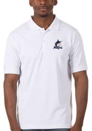 Antigua Miami Marlins Mens White Legacy Pique Short Sleeve Polo