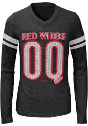 Detroit Red Wings Girls Black Youth Girls Opal Burnout Long Sleeve T-shirt