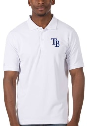 Antigua Tampa Bay Rays Mens White Legacy Pique Short Sleeve Polo
