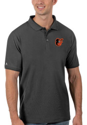 Antigua Baltimore Orioles Mens Grey Legacy Pique Short Sleeve Polo