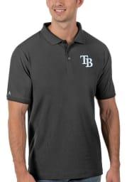 Antigua Tampa Bay Rays Mens Grey Legacy Pique Short Sleeve Polo
