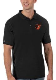 Antigua Baltimore Orioles Mens Black Legacy Pique Short Sleeve Polo