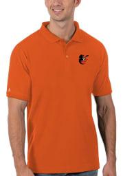 Antigua Baltimore Orioles Mens Orange Legacy Pique Short Sleeve Polo