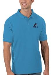 Antigua Miami Marlins Mens Blue Legacy Pique Short Sleeve Polo