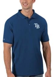Antigua Tampa Bay Rays Mens Blue Legacy Pique Short Sleeve Polo