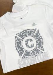 Chicago Fire Girls White Liquid Silver Short Sleeve Tee