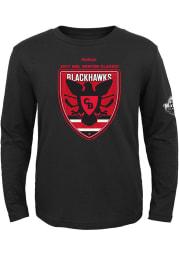 Chicago Blackhawks Kids Black Blackhawk Pride Long Sleeve T-Shirt