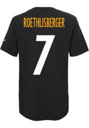 Ben Roethlisberger Pittsburgh Steelers Boys Black Player Short Sleeve T-Shirt