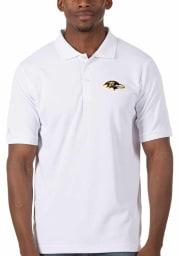 Antigua Baltimore Ravens Mens White Legacy Pique Short Sleeve Polo