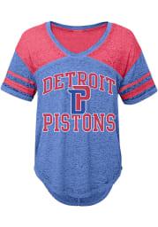 Detroit Pistons Juniors Blue Vintage V-Neck T-Shirt