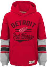 Detroit Red Wings Boys Red Heroic Long Sleeve Hooded Sweatshirt