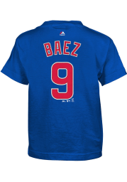 Javier Baez Chicago Cubs Boys Blue Player Short Sleeve T-Shirt